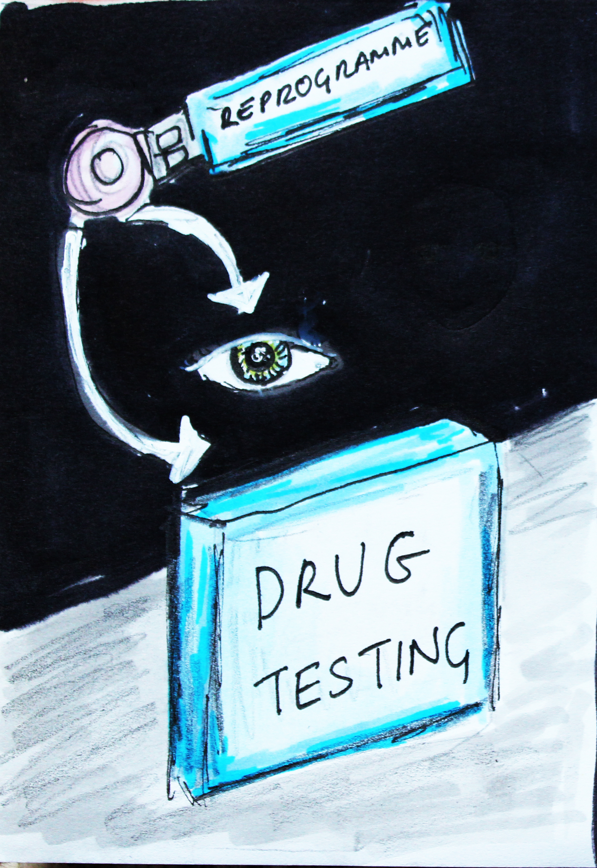 Hand-drawn illustration of drug testing
