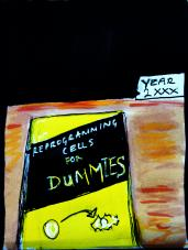Hand-drawn illustration of 'Reprogramming Cells for Dummies' book'