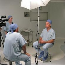 Clinicians being interviewed